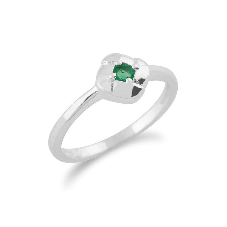 Gemondo 925 Sterling Silver 0.11ct Emerald Square Crossover Ring Image 2