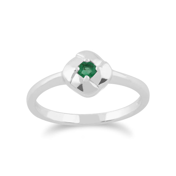 Gemondo 925 Sterling Silver 0.11ct Emerald Square Crossover Ring Image 1