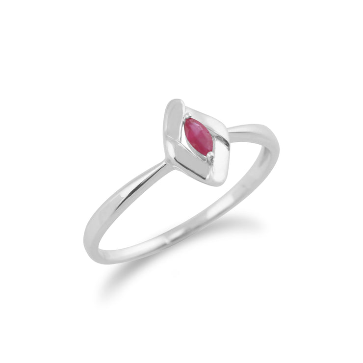 Gemondo 925 Sterling Silver 0.10ct Ruby Crossover Ring Image 2