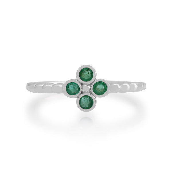 Gemondo Sterling Silver 0.19ct Emerald Cluster Ring Image 2