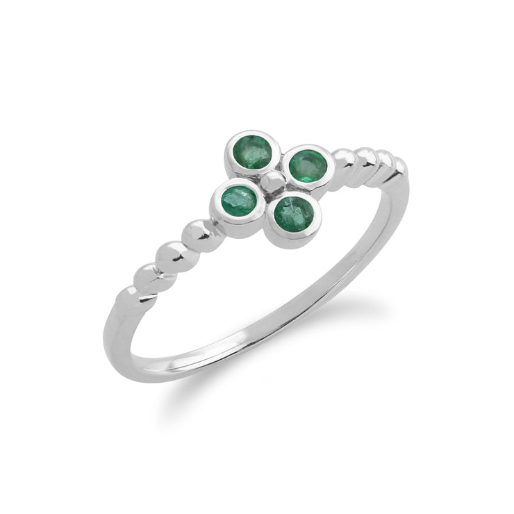 Floral Round Emerald Clover Stud Earrings & Ring Set in 925 Sterling Silver
