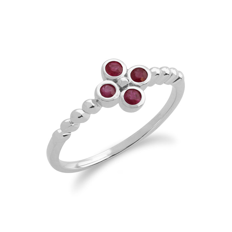Floral Round Ruby Clover Pendant & Ring Set in 925 Sterling Silver