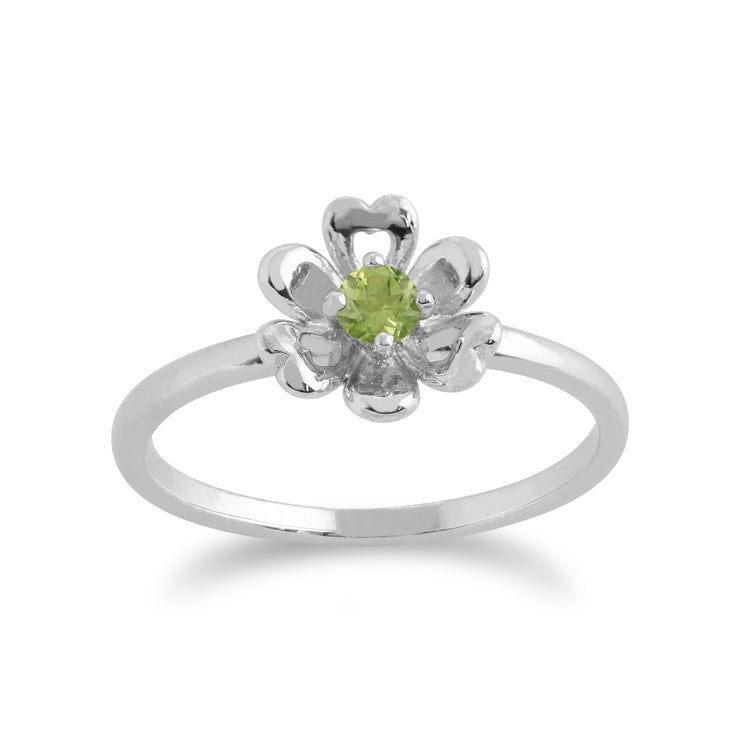 Gemondo 925 Sterling Silver 0.13ct Peridot Floral Ring Image 1