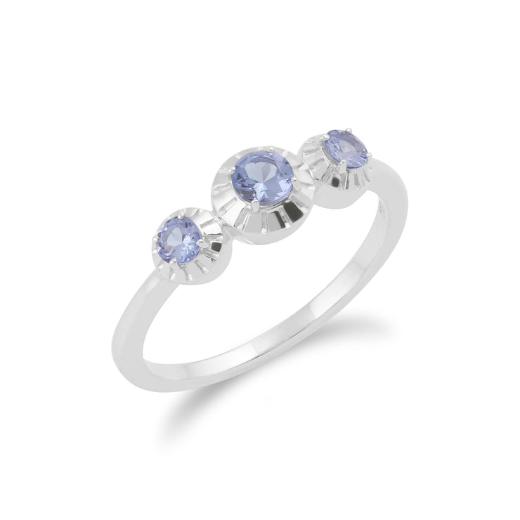 Gemondo 925 Sterling Silver 0.36ct Tanzanite Three Stone Ring Image 2