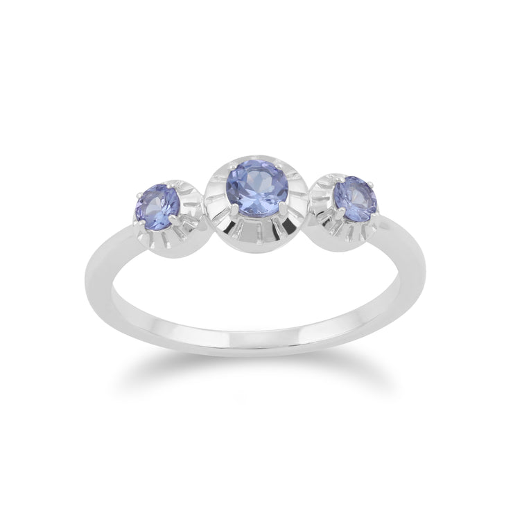 Gemondo 925 Sterling Silver 0.36ct Tanzanite Three Stone Ring Image 1