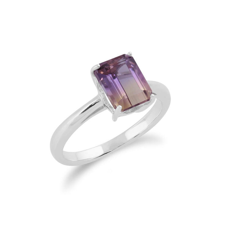 Classic Baguette Ametrine Claw Set Ring in 925 Sterling Silver