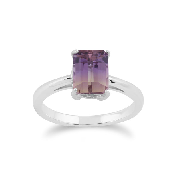 Classic Baguette Ametrine Claw Set Pendant & Ring Set in 925 Sterling Silver