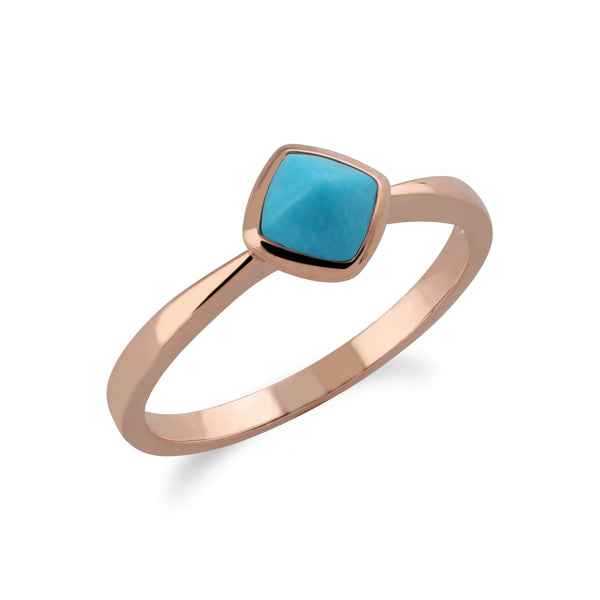 Gemondo Rose Gold Plated Sterling Silver Cushion Turquoise Ring Image 2