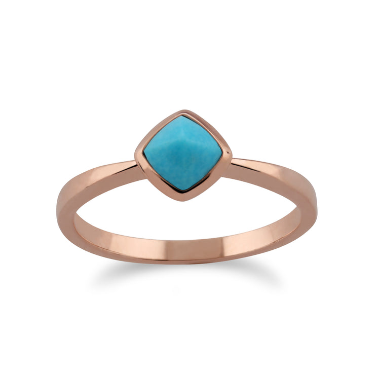 Gemondo Rose Gold Plated Sterling Silver Cushion Turquoise Ring Image 1