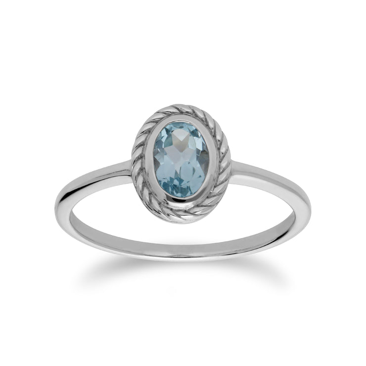 Classic Oval Blue Topaz Rope Design Ring in 925 Sterling Silver
