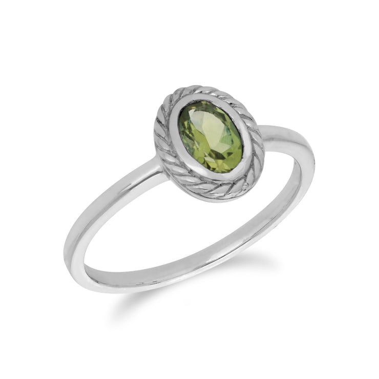 Classic Oval Peridot Rope Design Ring in 925 Sterling Silver