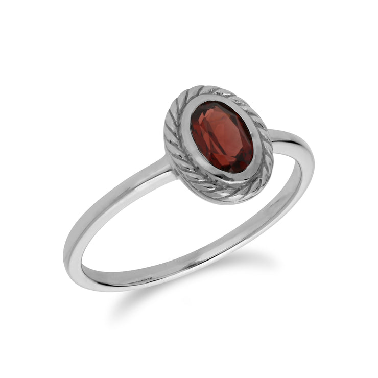 Classic Oval Garnet Rope Design Ring in 925 Sterling Silver