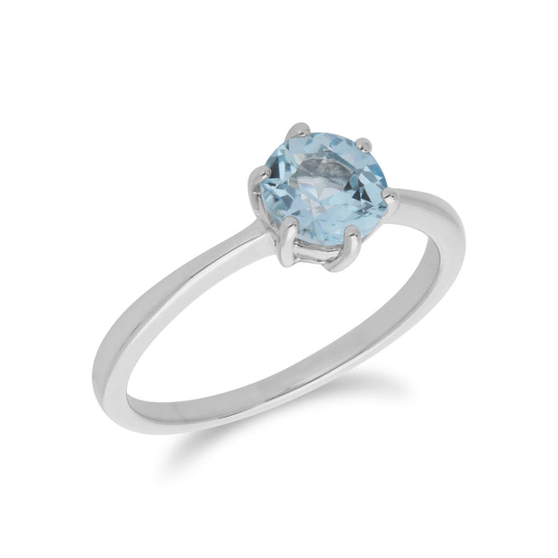 Classic Round Blue Topaz Claw Set Single Stone Ring in 925 Sterling Silver