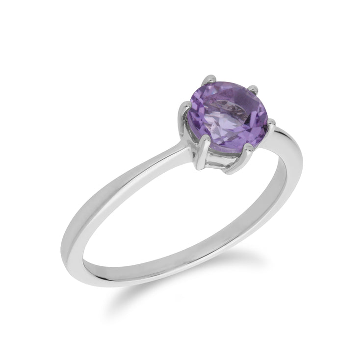Classic Round Amethyst Claw Set Single Stone Ring in 925 Sterling Silver