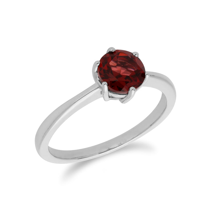 Classic Round Garnet Claw Set Single Stone Ring in 925 Sterling Silver