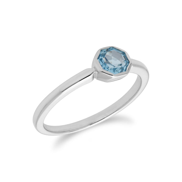 Geometric Hexagon Blue Topaz Bezel Set Ring in 925 Sterling Silver