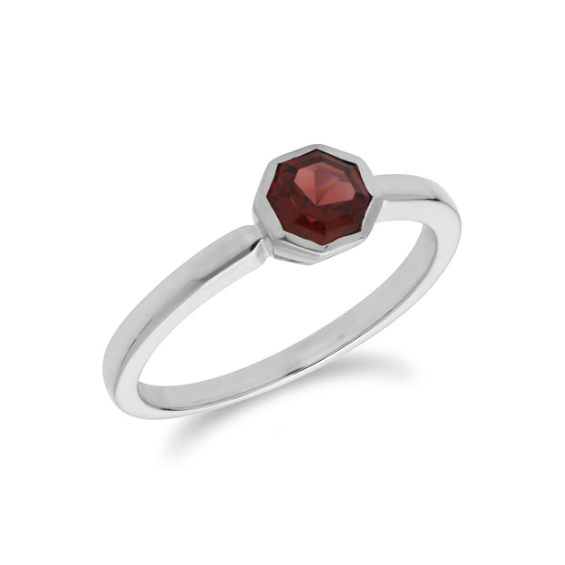 Geometric Hexagon Garnet  Ring in Sterling Silver