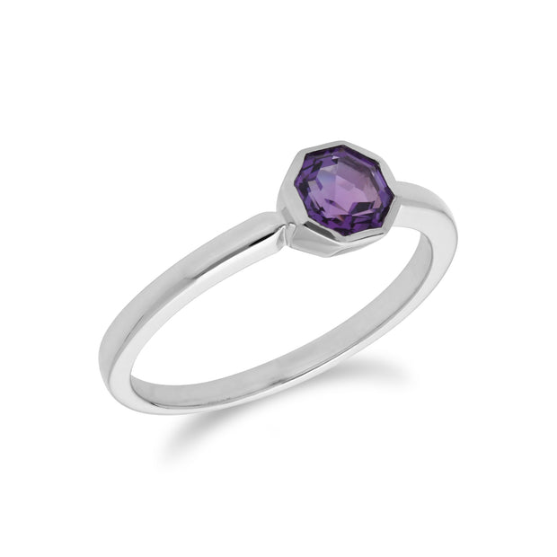 Geometric Hexagon Amethyst Bezel Set Ring in 925 Sterling Silver