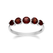 Essential Round Garnet Five Stone Gradient Ring in 925 Sterling Silver