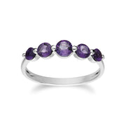 Classic Round Amethyst Five Stone Gradient Ring & Necklace Set Image 3