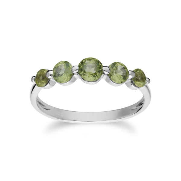 Essential Round Peridot Five Stone Gradient Ring in 925 Sterling Silver