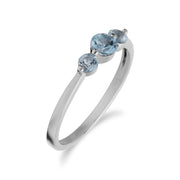 Essential Round Blue Topaz Three Stone Gradient Ring in 925 Sterling Silver