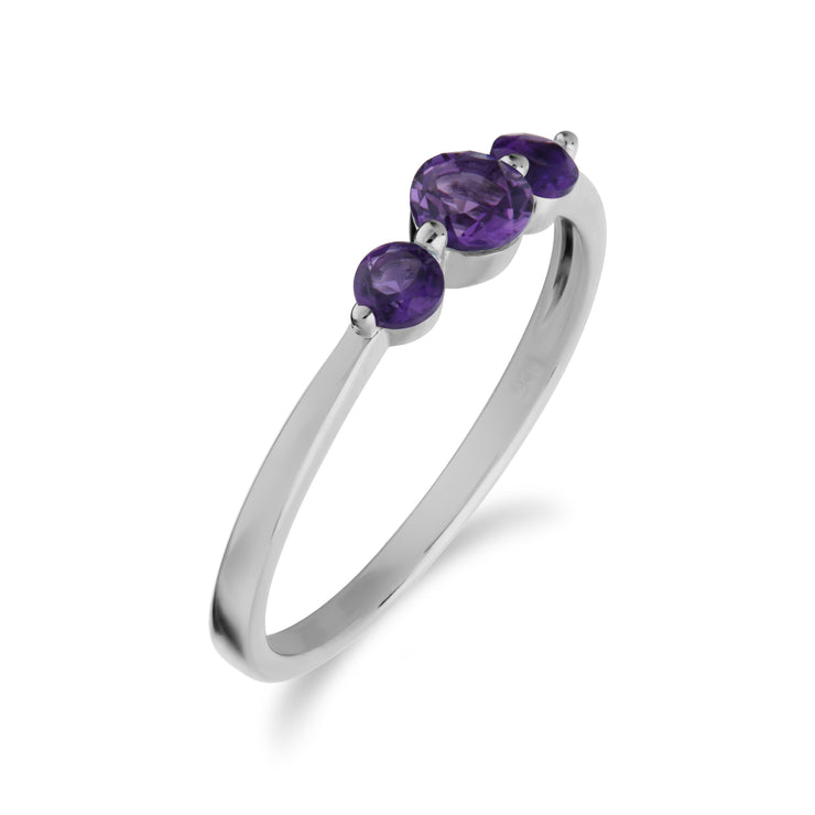 Essential Round Amethyst Three Stone Gradient Ring in 925 Sterling Silver