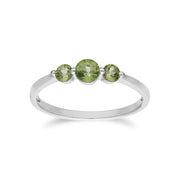 Essential Round Peridot Three Stone Gradient Ring in 925 Sterling Silver