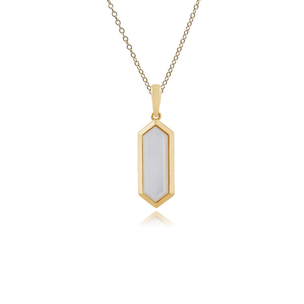 Geometric Hexagon Gold Plated Mother of Pearl Drop Pendant
