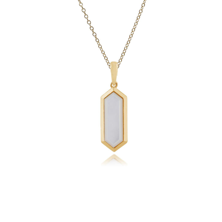 Mother of Pearl Geometric Pendant in Gold Plated Sterling Silver