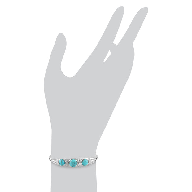 Boho Round Turquoise Cabochon Bangle in 925 Sterling Silver
