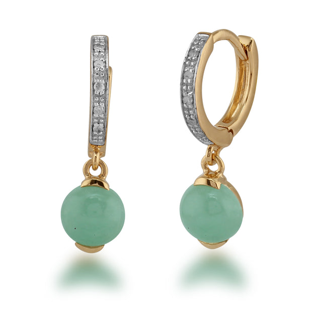 Classic Jade & Diamond Hoop Earrings in Gold Plated 925 Sterling Silver