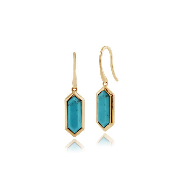 Geometric Hexagon Turquoise Prism Drop Earrings in Gold Plated Silver