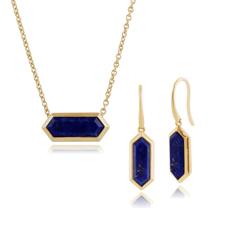 Geometric Lapis Lazuli Bezel Drop Earrings & Pendant Set in Image 1