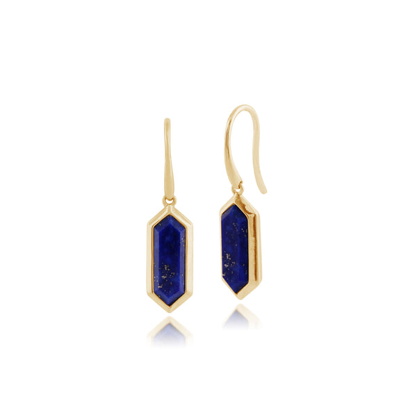Geometric Hexagon Lapis Lazuli Prism Drop Earrings in Gold Plated 925 Sterling Silver