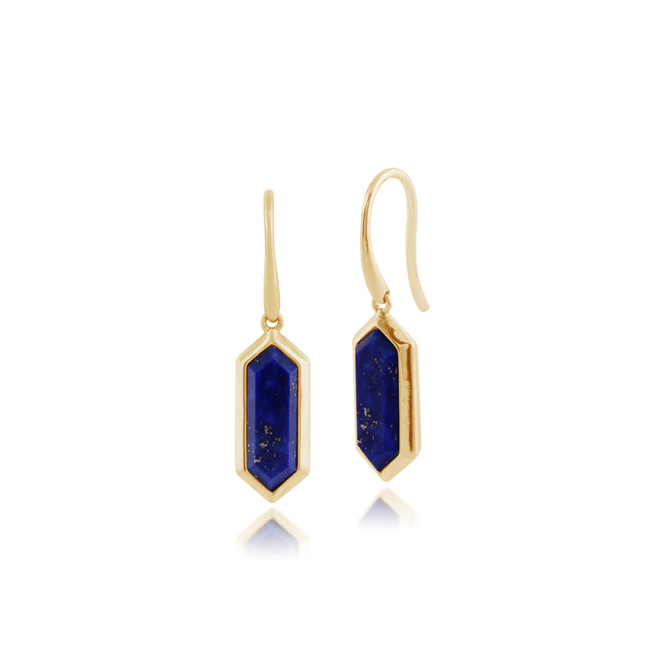 Geometric Hexagon Lapis Lazuli Prism Drop Earrings in Gold Plated Silver
