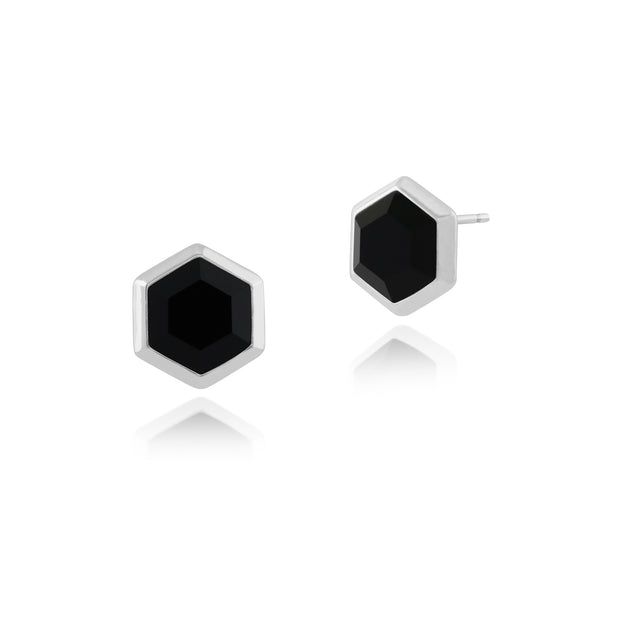 Geometric Hexagon Black Onyx Stud Earrings in 925 Sterling Silver