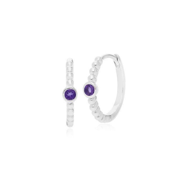 Essential Round Amethyst Hinged Hoop Earrings in 925 Sterling Silver