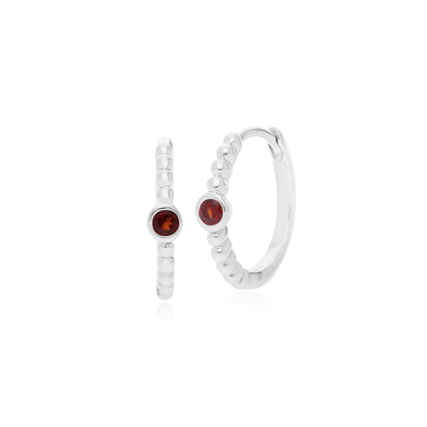 Essential Round Garnet Hinged Hoop Earrings in 925 Sterling Silver
