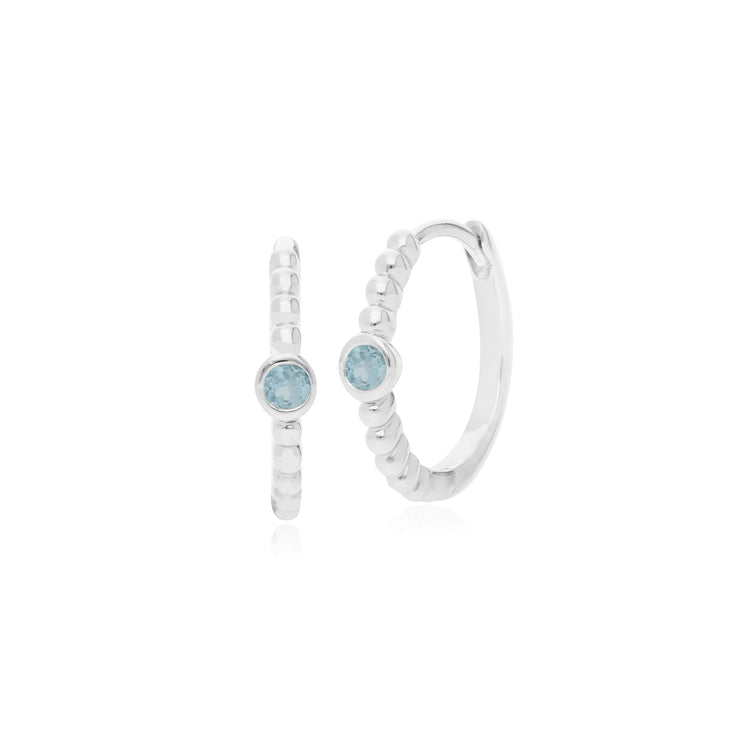 Gemondo Sterling Silver 0.09ct Aquamarine March Birthstone Hoop Earring