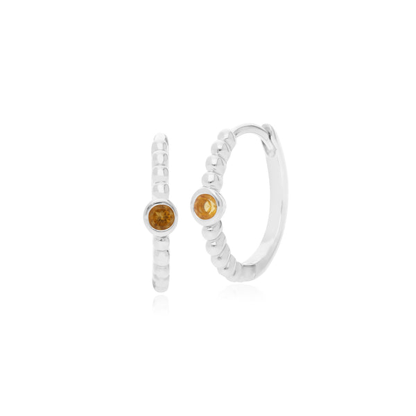 Essential Round Citrine Hinged Hoop Earrings in 925 Sterling Silver