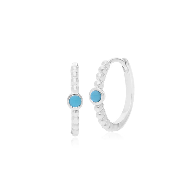 Gemondo Sterling Silver 0.10ct Turquoise December Birthstone Hoop Earring
