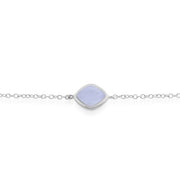 Classic Sugarloaf Blue Lace Agate Single Stone Bracelet in 925 Sterling Silver