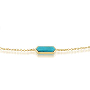 Geometric Hexagon Turquoise Prism Gold Plated Silver  Bracelet