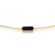 Geometric Hexagon Lapis Lazuli Prism Gold Plated  Bracelet