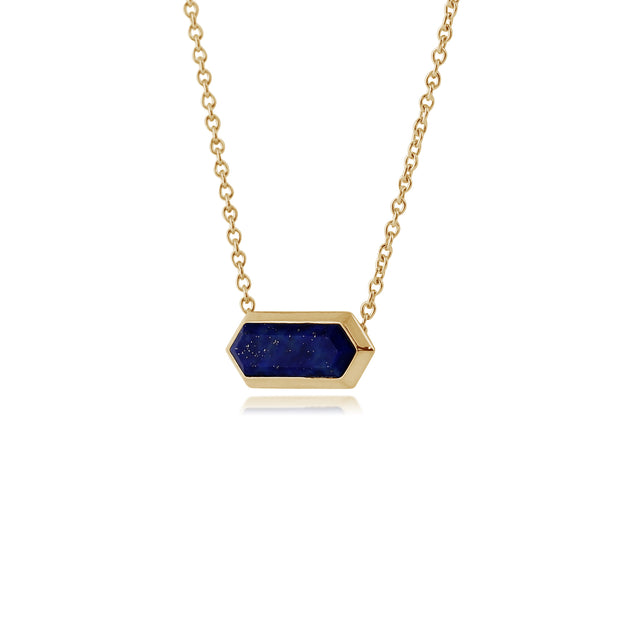 Geometric Hexagon Lapis Lazuli Prism Necklace in Gold Plated  Silver