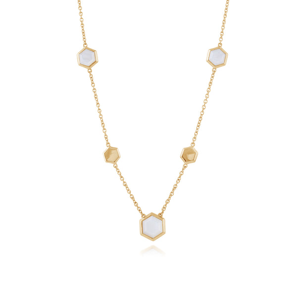 Geometric Hexagon Gold Plated Silver Mother of Pearl  Necklace