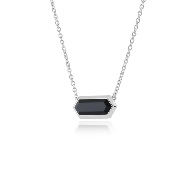 Geometric Hexagon Black Onyx Prism Necklace in 925 Sterling Silver
