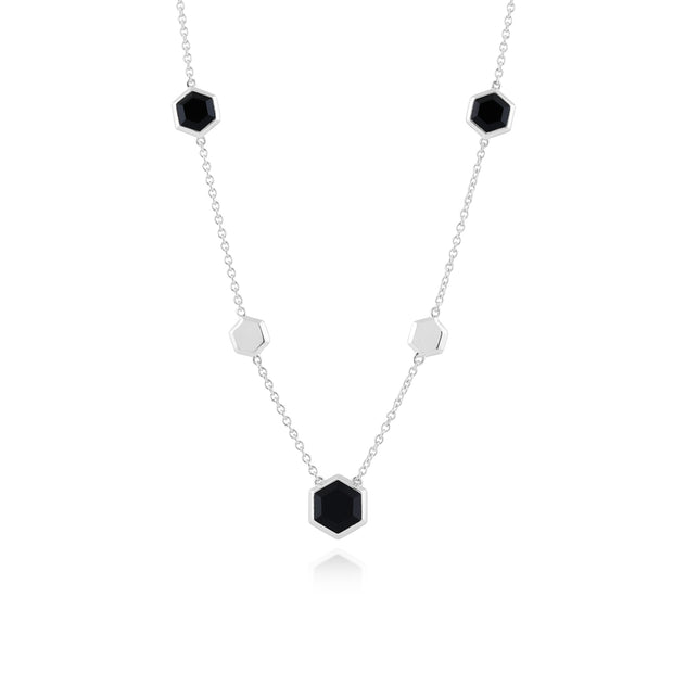 Gemondo  Silver  Black Onyx Hexagonal Prism Necklace