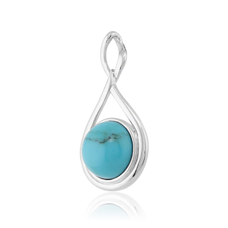 Modern Round Turquoise Cabochon Pendant in 925 Sterling Silver